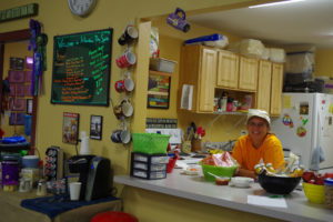 Concession attendant and serving window at Christie Leone at Yellowstone Dog Sports