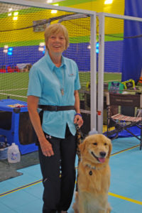 Bets Keen, chairperson for the GRCA agility trial with her Golden Retriever, Crown Center, Eden MD